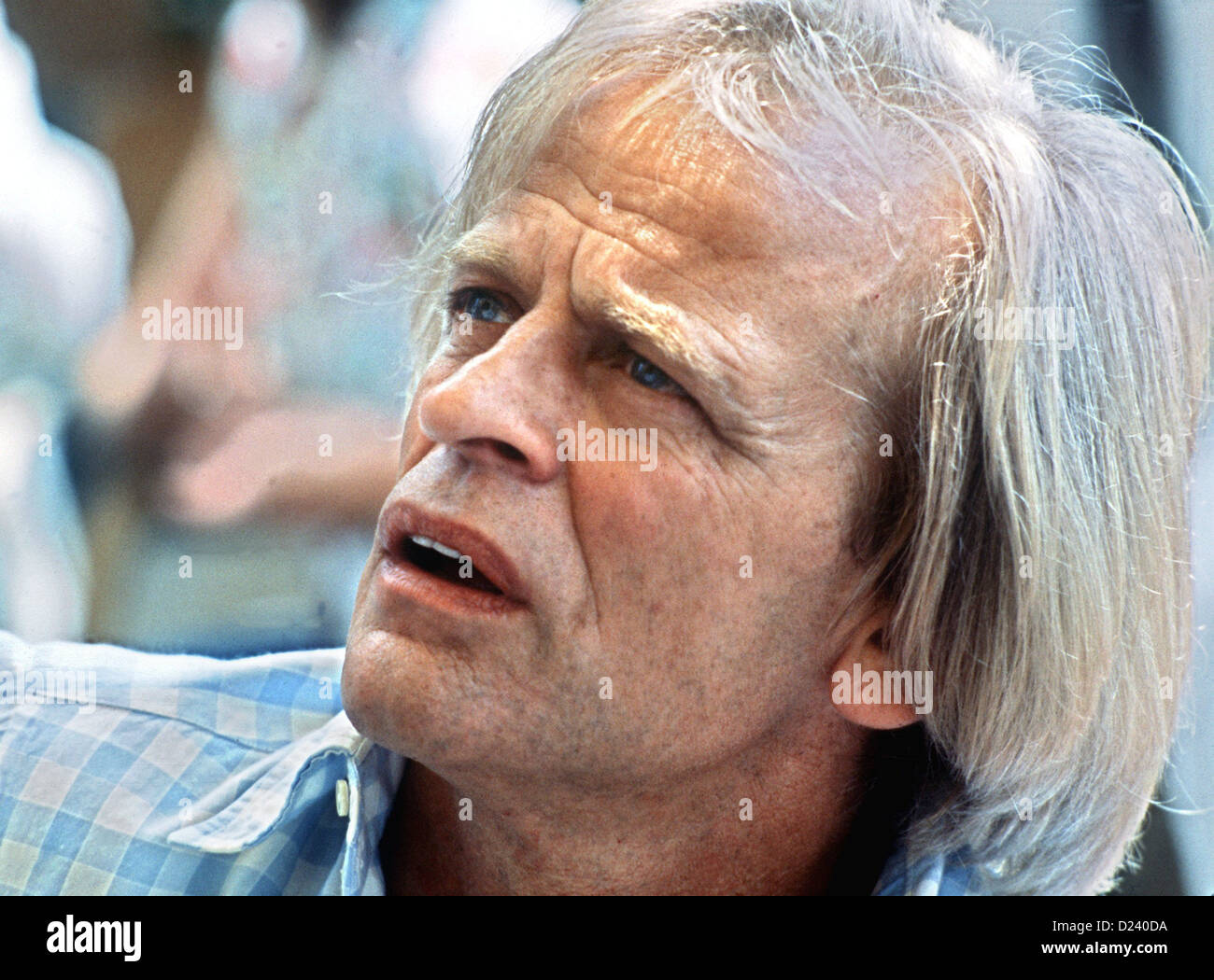 (dpa files) - German actor Klaus Kinski, pictured during the International Film Festival in Cannes, France, 25 May 1982. An 'enfant terrible' of the film industry, his films include 'Aguirre, der Zorn Gottes' ('Aguirre: The Wrath of God') and 'Nosferatu: Phantom der Nacht' ('Nosferatu the Vampire'). Kinski was born on 18 October 1926 in Danzig, Germany (now Gdansk, Poland) under the name of Nikolaus Guenther Nakszynski and died on 23 November 1991 in Lagunitas, California, of a heart attack. Stock Photo