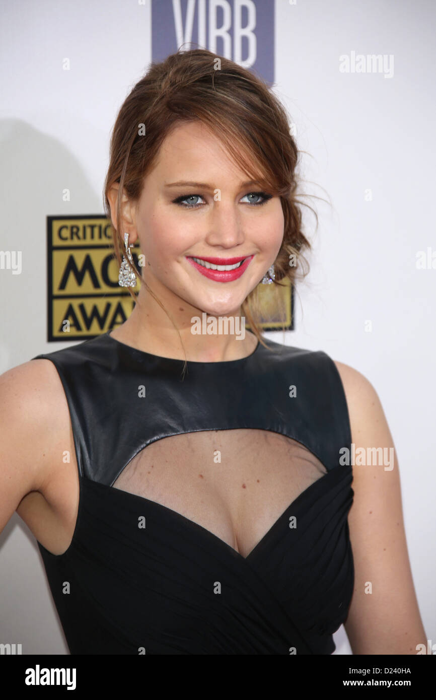 Actress Jennifer Lawrence arrives at the 18th Annual Critics' Choice Awards at The Barker Hanger in Santa Monica, - Stock Image