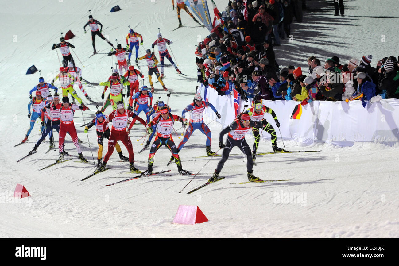 Biathletes in action during the 4 x 7.5 km relay at the Biathlon World Cup at Chiemgau Arena in Ruhpolding, Germany, - Stock Image