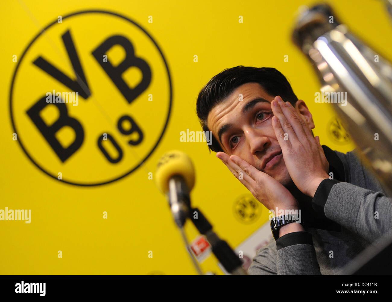 Professional soccer player Nuri Sahin is presented as the new acquisition of Bundesliga soccer club Borussia Dortmund Stock Photo