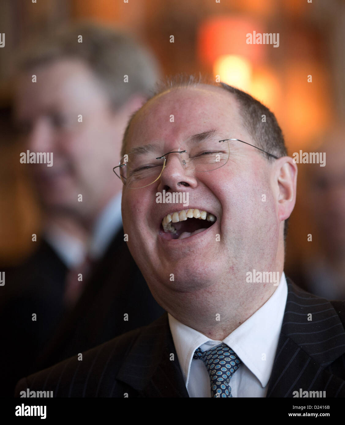 SPD chancellor candidate Peer Steinbrueck arrives for the New Year's reception of the Berliner Morgenpost newspaper - Stock Image
