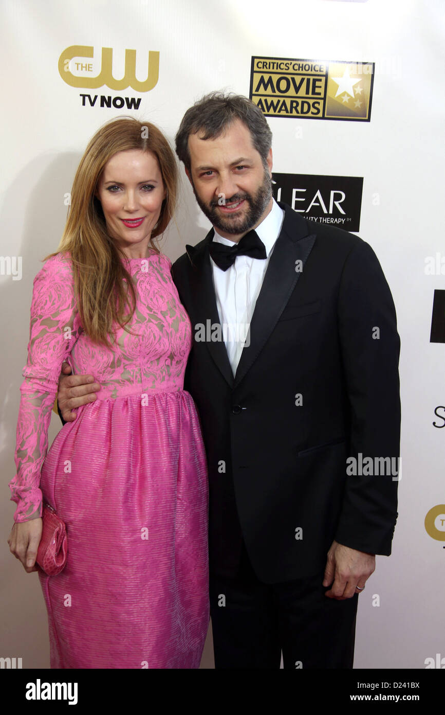Actress Leslie Mann and husband actor Judd Apatow arrive at the 18th Annual Critics' Choice Awards at The Barker - Stock Image
