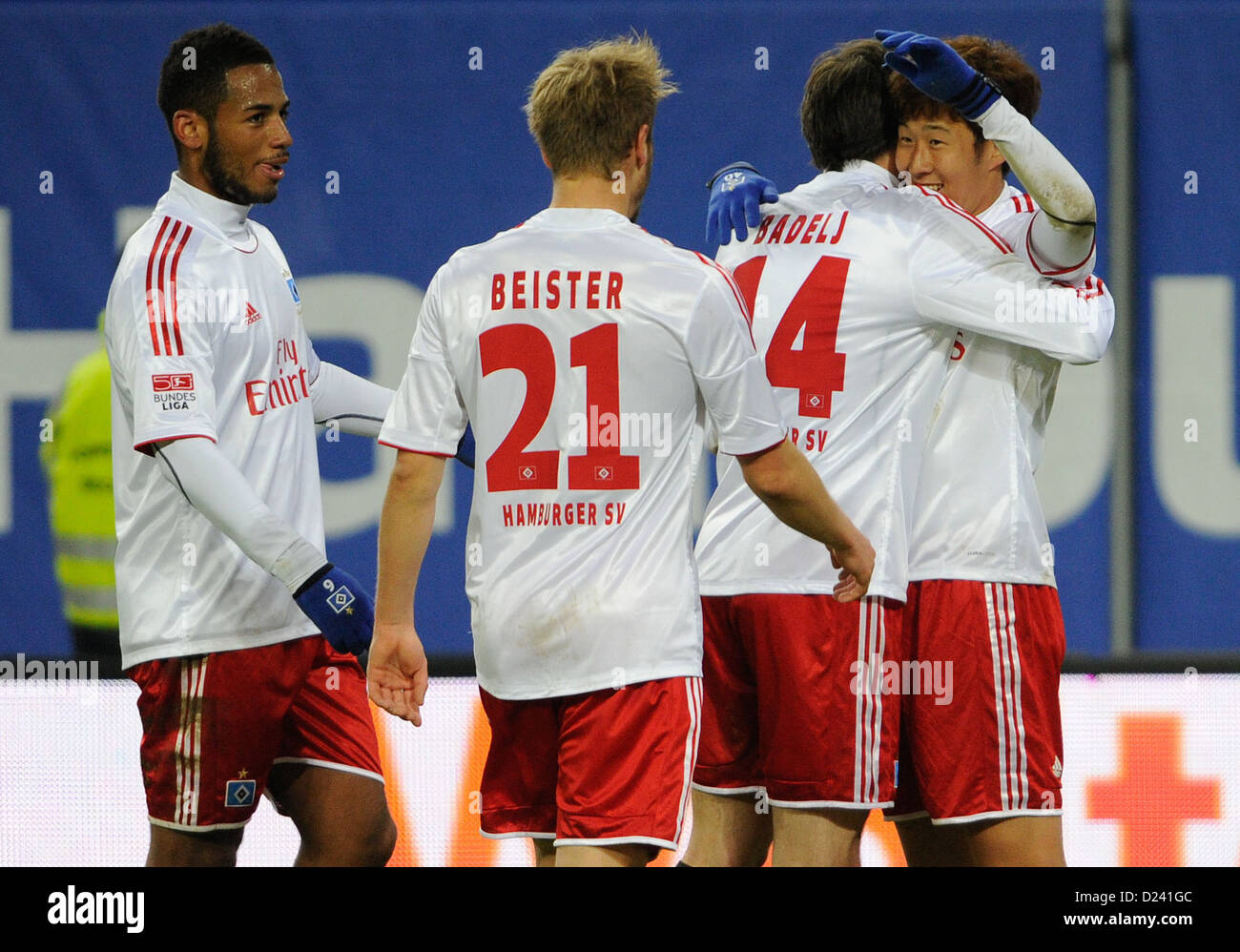 Hamburgs' Dennis Aogo (L-R), Maximilian Beister, Milan Badelj and Heung Min Son gesture after 1:0 during the - Stock Image