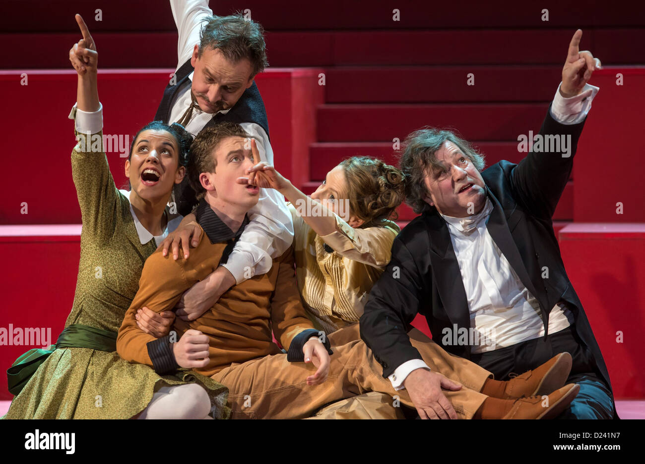Actors rehearse for the play 'Wahnfried - Bilder einer Ehe' ('Wahnfried - pictures of a marriage') - Stock Image