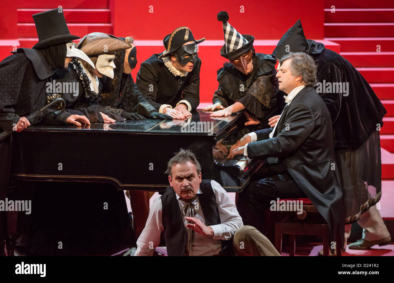 Actors rehearse the play 'Wahnfried - Bilder einer Ehe' ('Wahnfried - pictures of a marriage') at - Stock Image