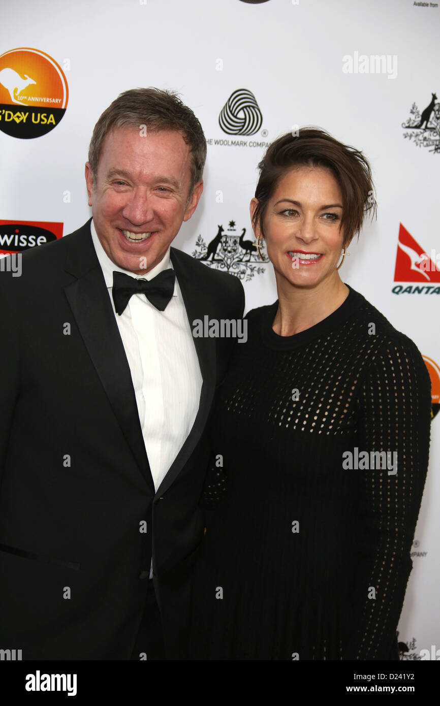 Actor Tim Allen and Jane Hajduk attend the G'Day USA Los Angeles Black Tie Gala at Hotel JW Marriott in Los - Stock Image