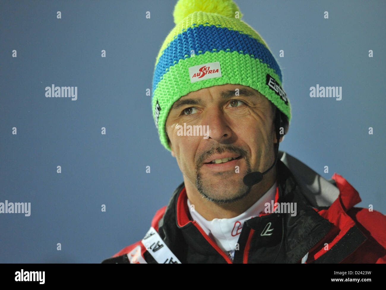 German coach of the Austrian team Remo Krug gestures during the men's 10 km sprint race of the Biathlon World - Stock Image
