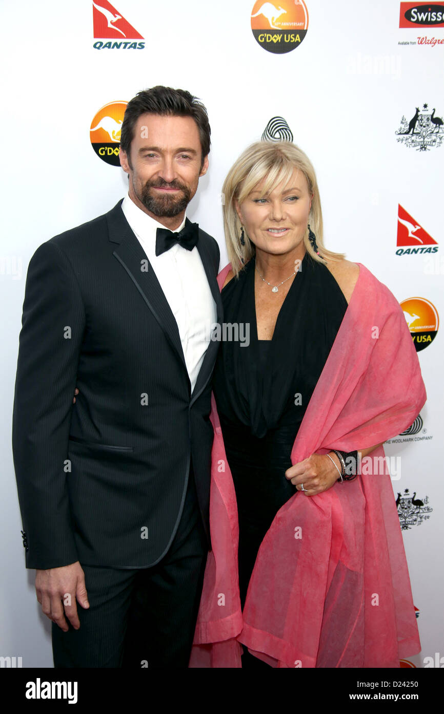 Actor Hugh Jackman and wife, actress Deborra-Lee Furness attend the G'Day USA Los Angeles Black Tie Gala at - Stock Image