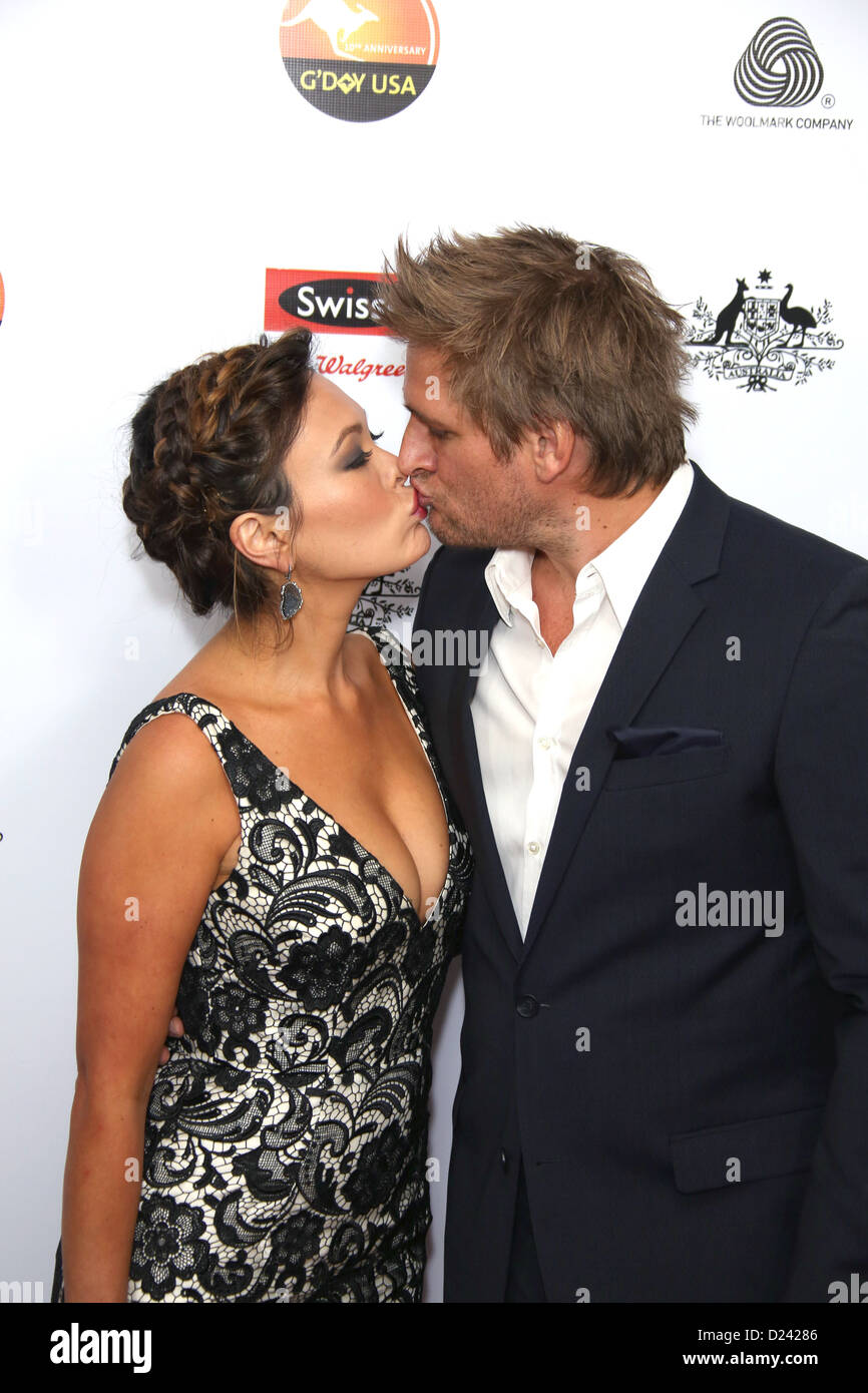 Actress Lindsay Price (L) and TV personality Curtis Stone attend the G'Day USA Los Angeles Black Tie Gala at - Stock Image
