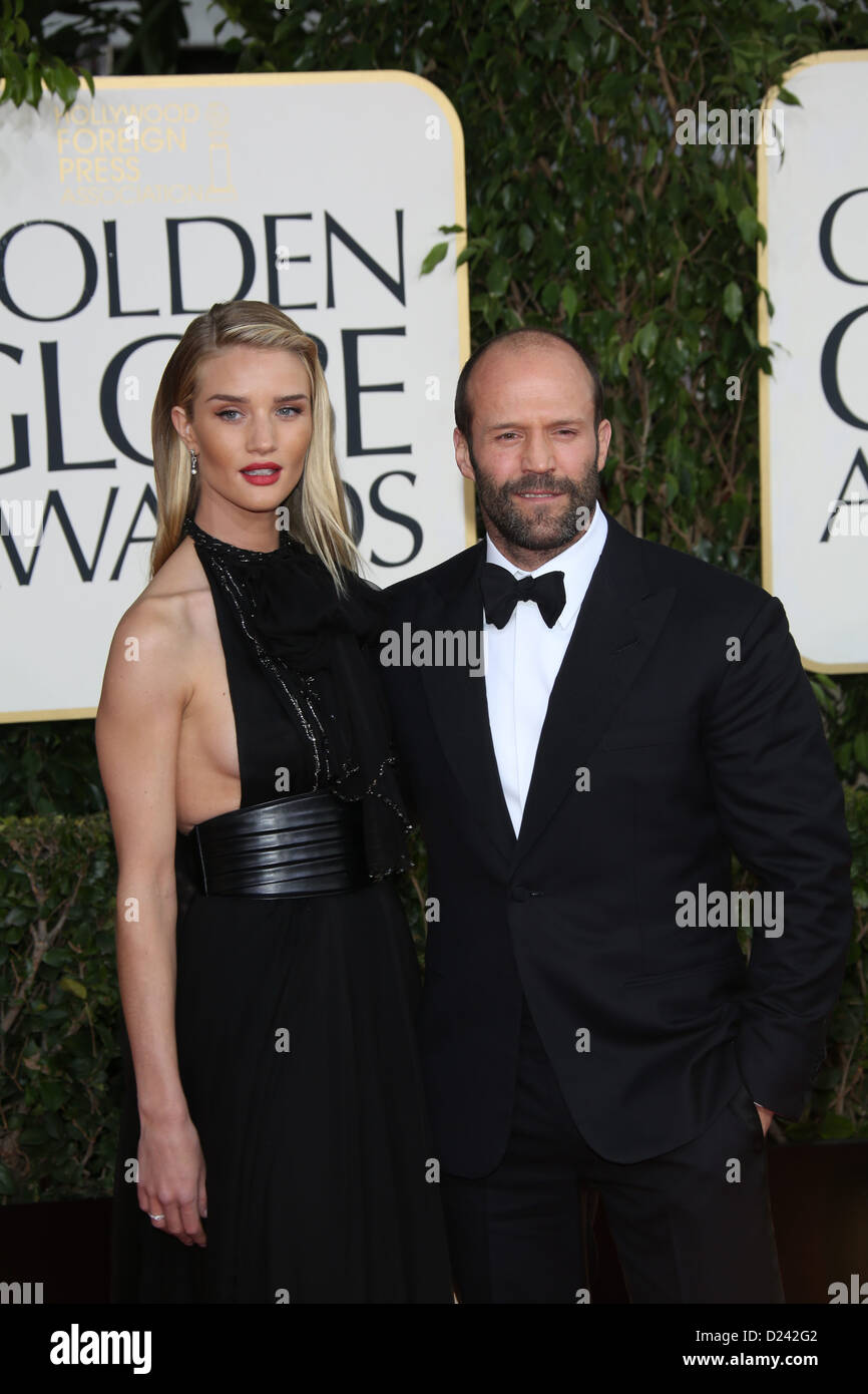 Actor Jason Statham and model Rosie Huntington-Whiteley arrive at the 70th Annual Golden Globe Awards presented Stock Photo