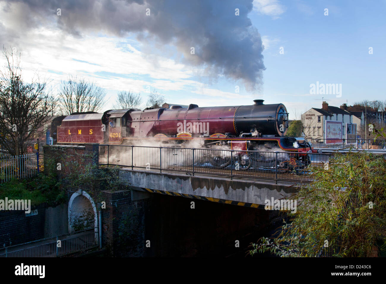 LMS Princess Elizabeth Royal Class steam locomotive leaving Oxford on a steam excursion in December 2012 - Stock Image