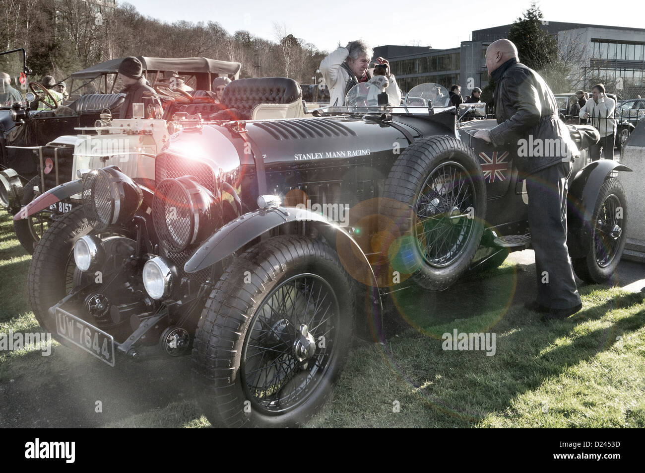 Vintage blower Bentley at the Brooklands Museum New Year's day gathering. - Stock Image
