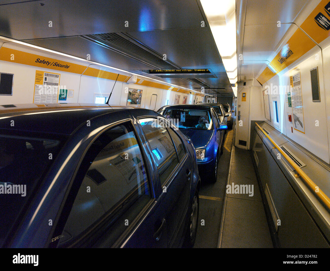 Eurotunnel Cars Onboard Shuttle Train Stock Photo 52953938 Alamy