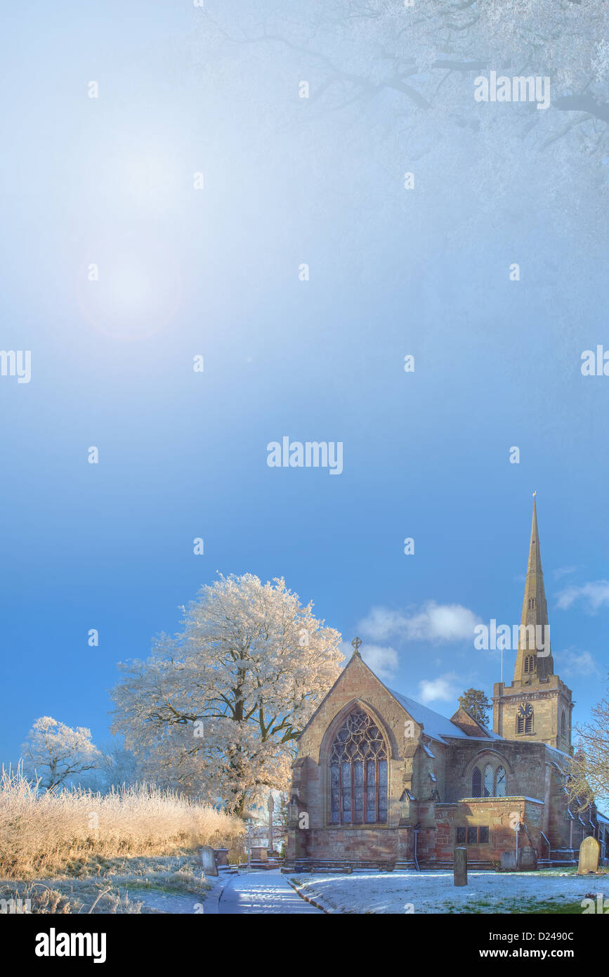 Christmas background with church and snow - Stock Image