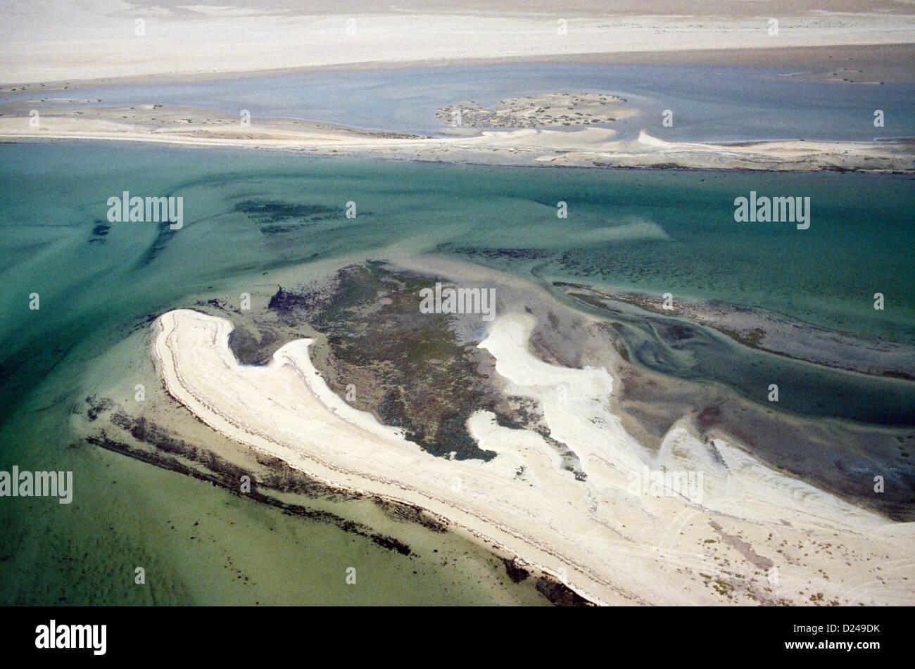 Qatar Umm Said Inland Sea Aerial View 1970s - Stock Image