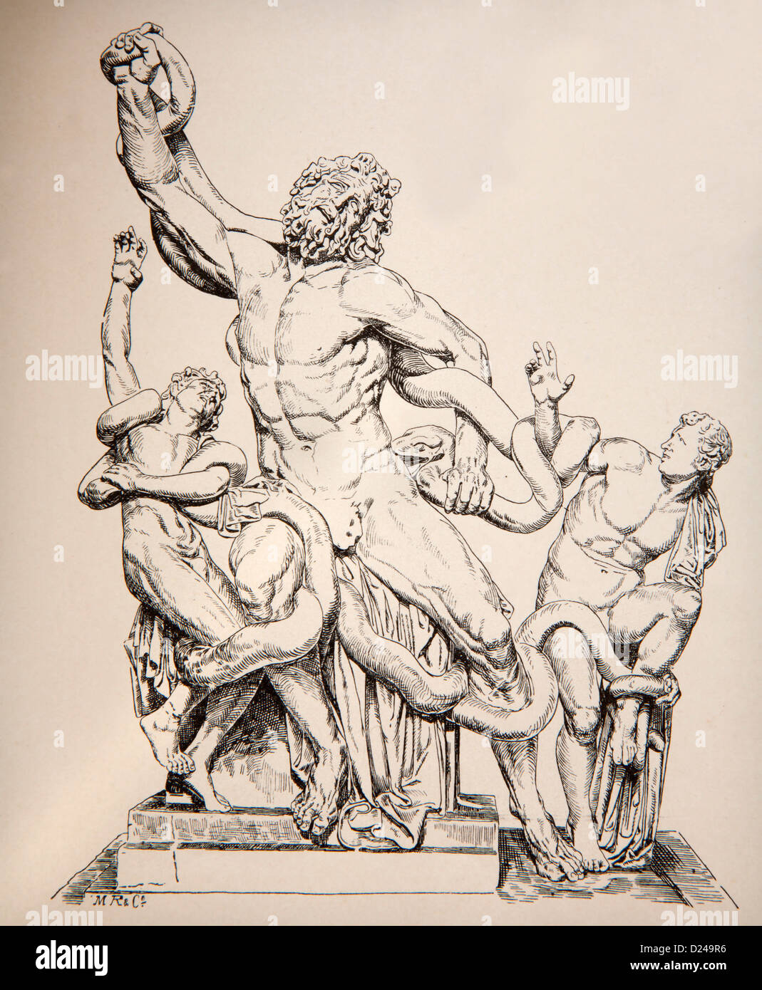 Germany - 1897: Lithography of statue Group of Laocoon originaly form Vatican museums. - Stock Image