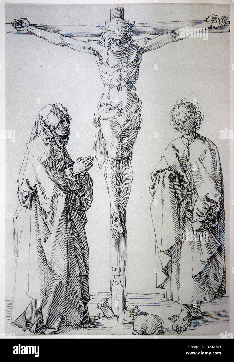 GERMANY - 1928: Lithography of Jesus on the cross by Albert Durer - Stock Image