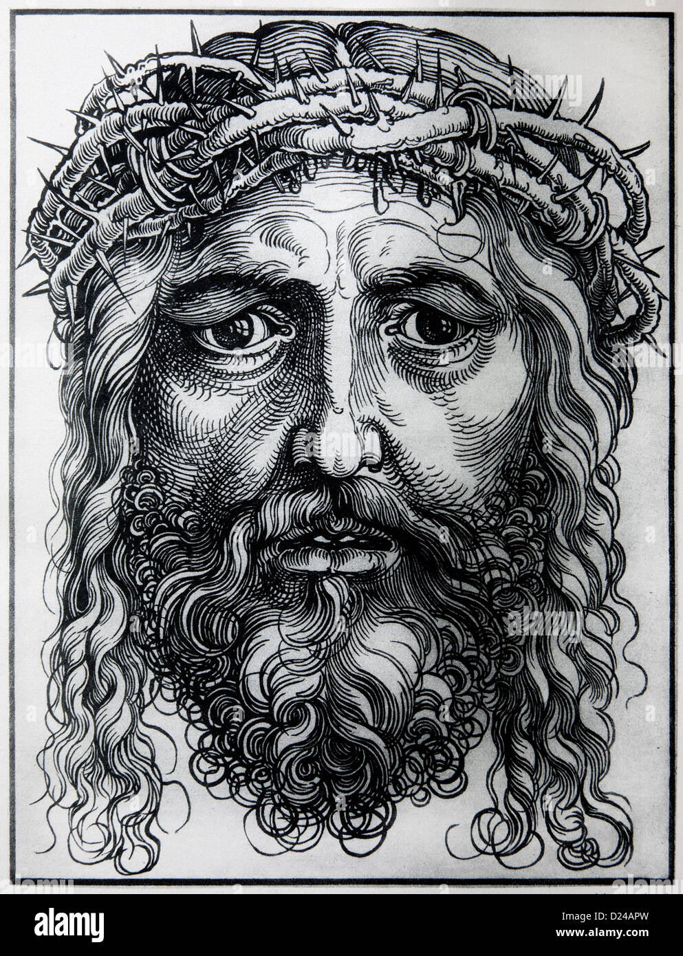 GERMANY - 1928: Lithography of Head of Jesus Christ by Albert Durer. - Stock Image