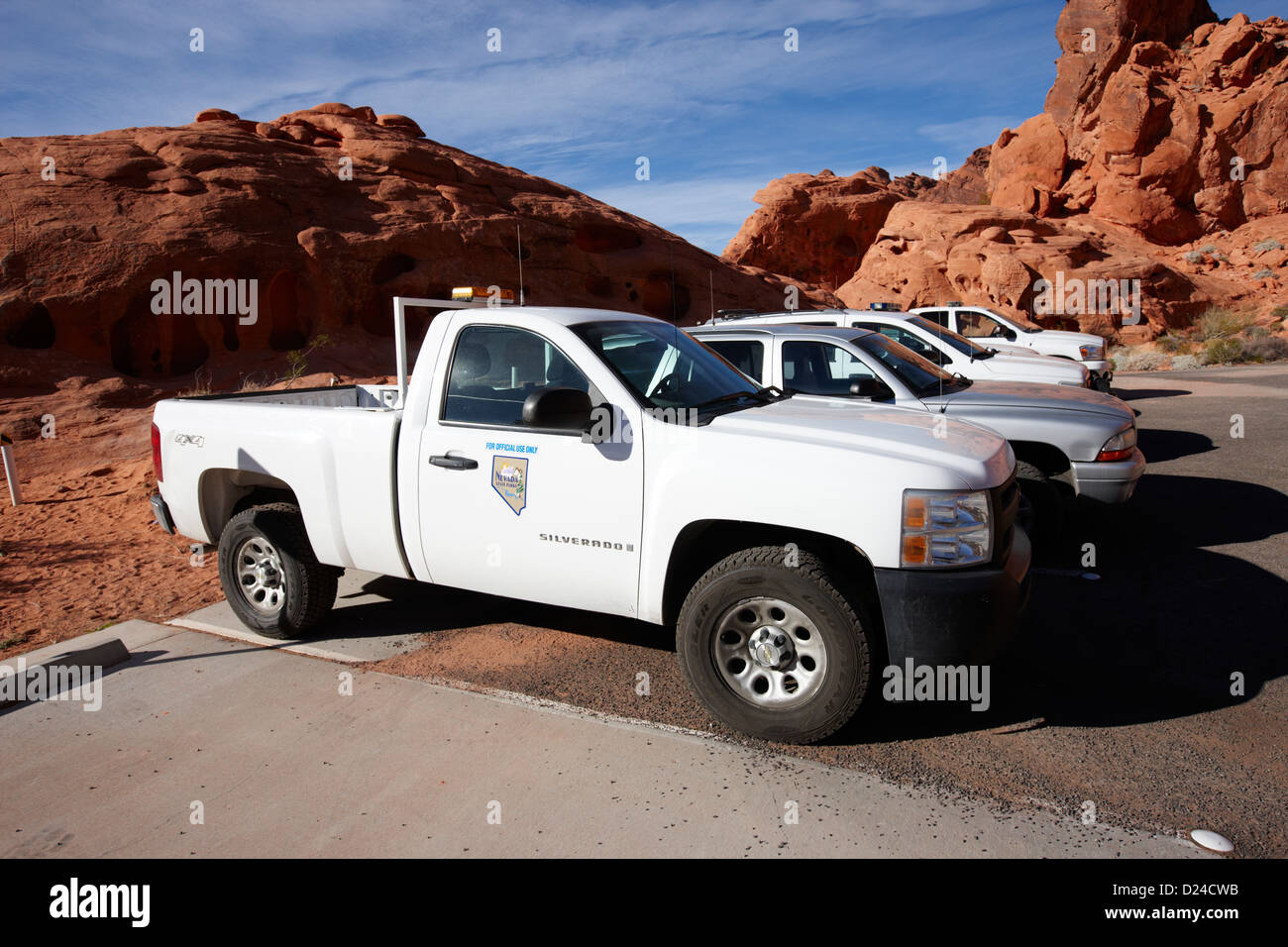 state park ranger vehicles at the valley of fire state park nevada usa - Stock Image