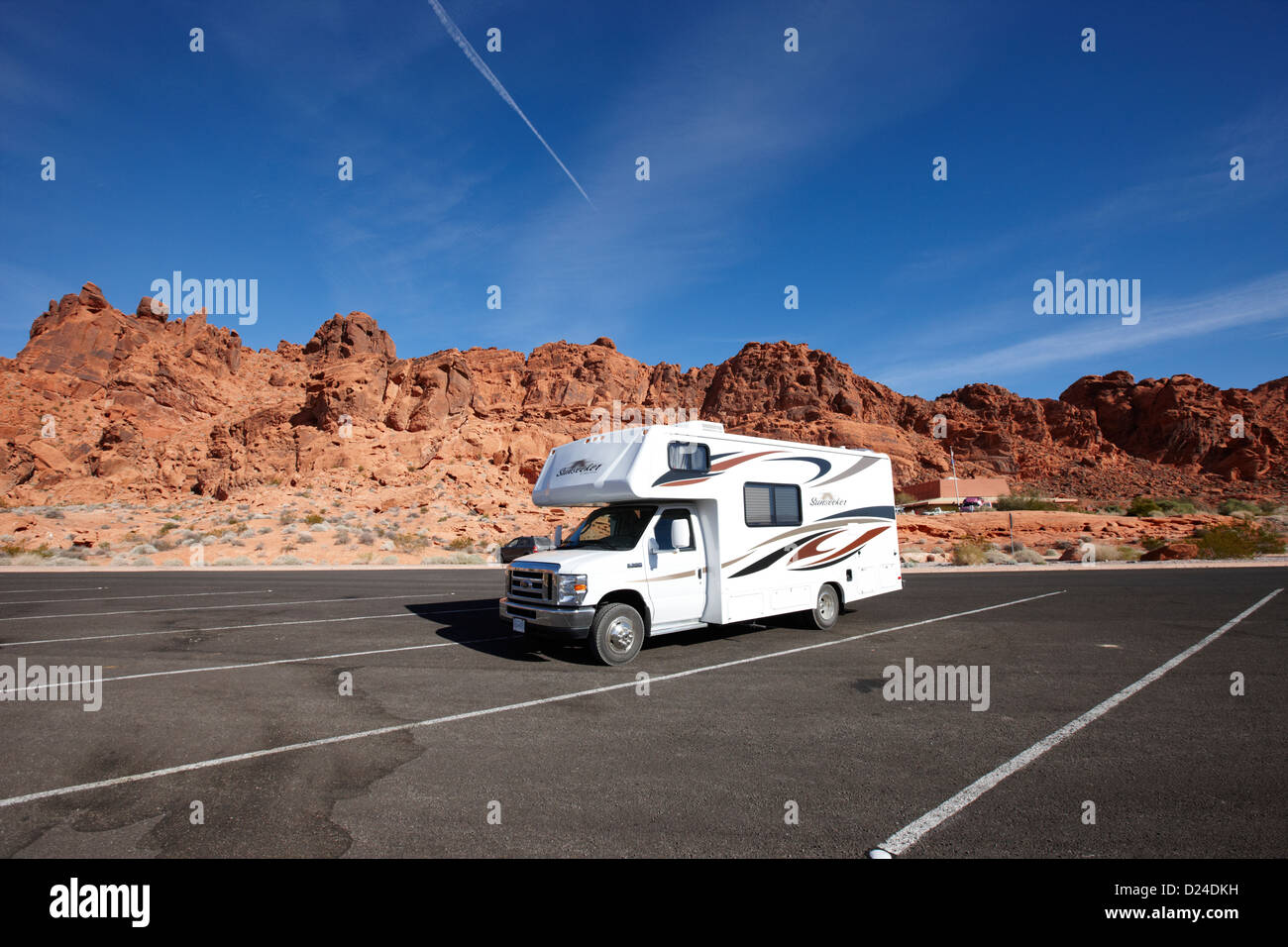 RV camping van parked at valley of fire state park nevada usa - Stock Image