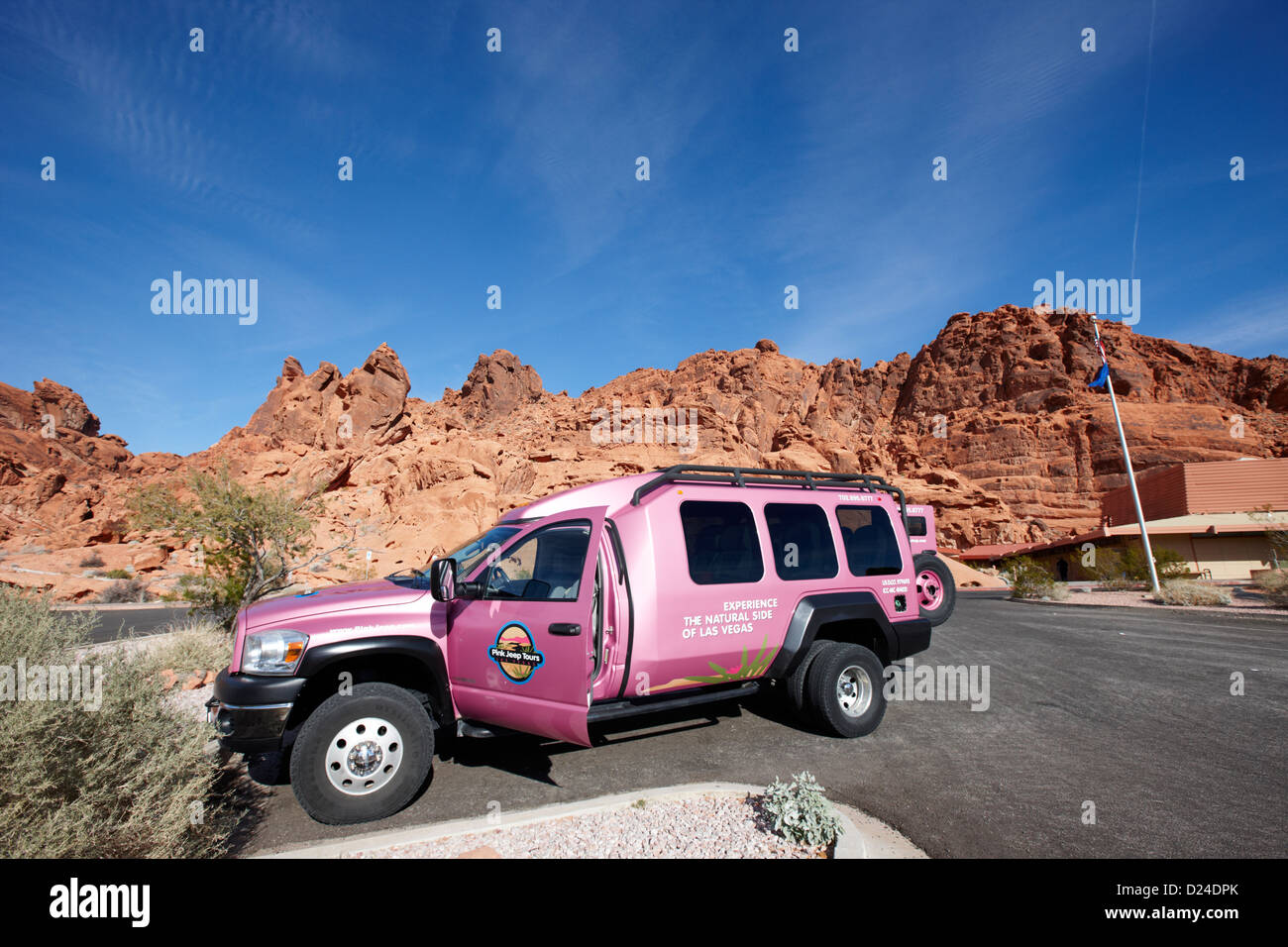 pink jeep tours purpose built tour vehicle at valley of fire state park visitors center nevada usa - Stock Image