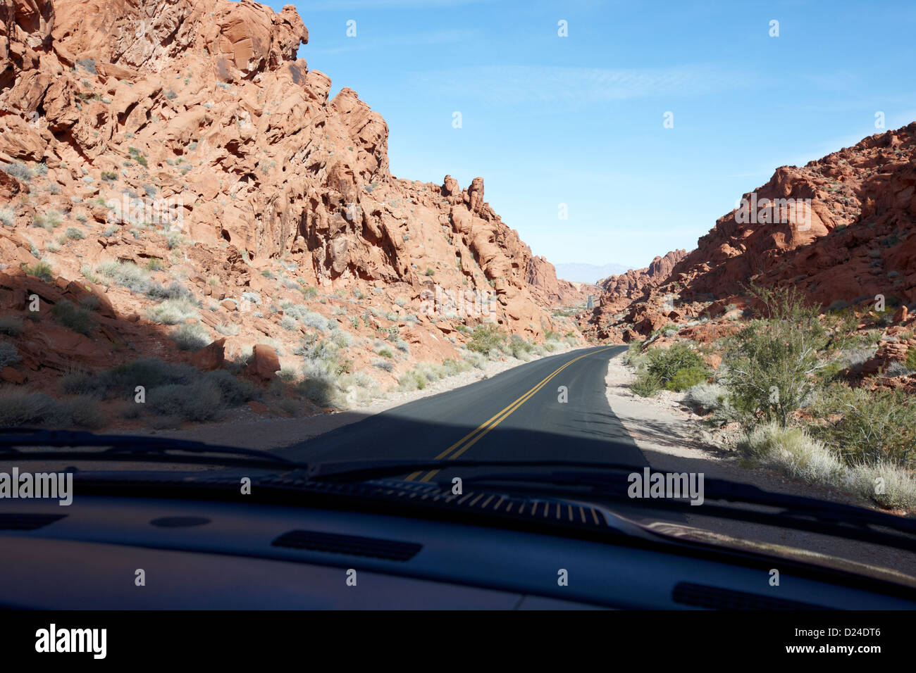 driving through canyons on the white domes road scenic drive valley of fire state park nevada usa - Stock Image