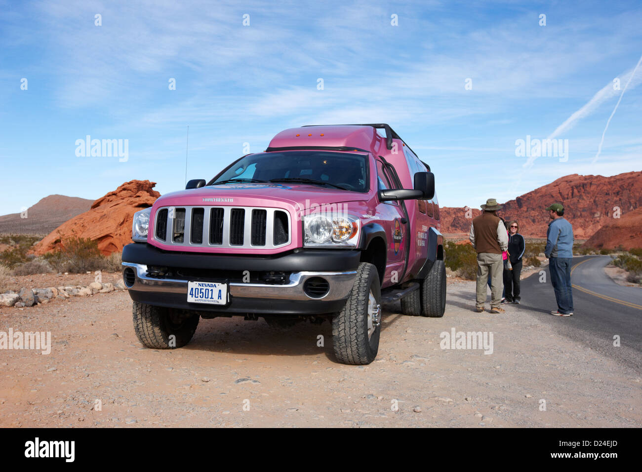 pink jeep tours purpose built tour vehicle at valley of fire state park nevada usa - Stock Image