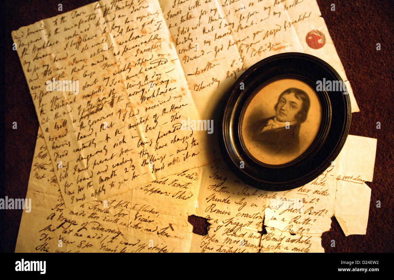 Letters written by poet Samuel Taylor Coleridge. *EDITORIAL USE ONLY* - Stock Image