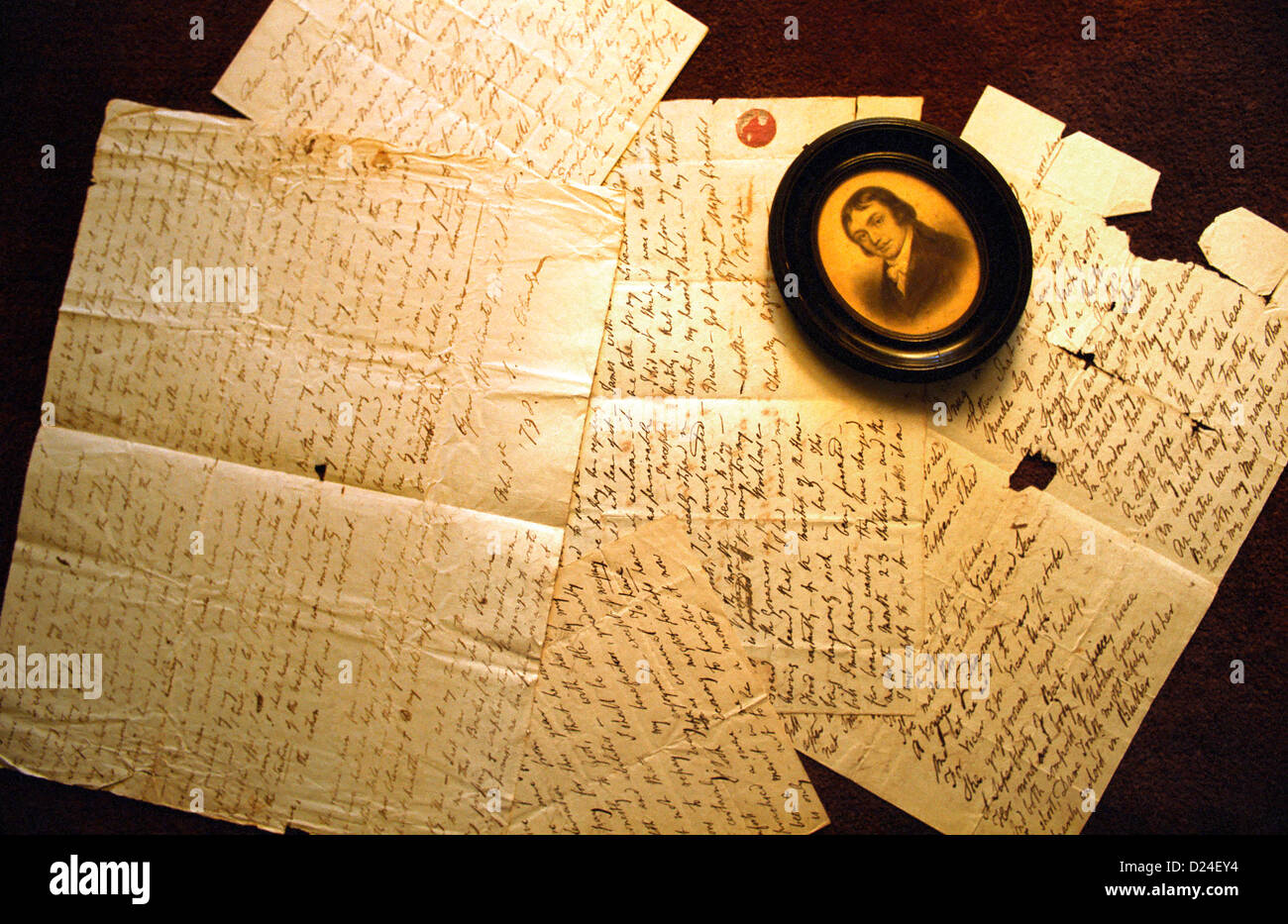 Letters written by poet Samuel Taylor Coleridge. *EDITORIAL USE ONLY* Stock Photo