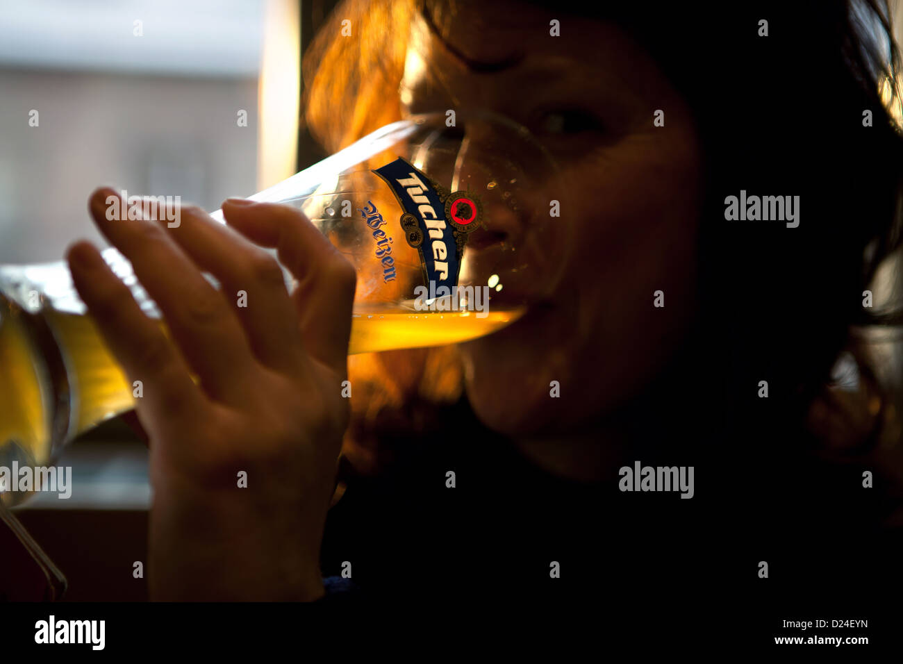 Woman drinking German Bavarian Beer Stock Photo