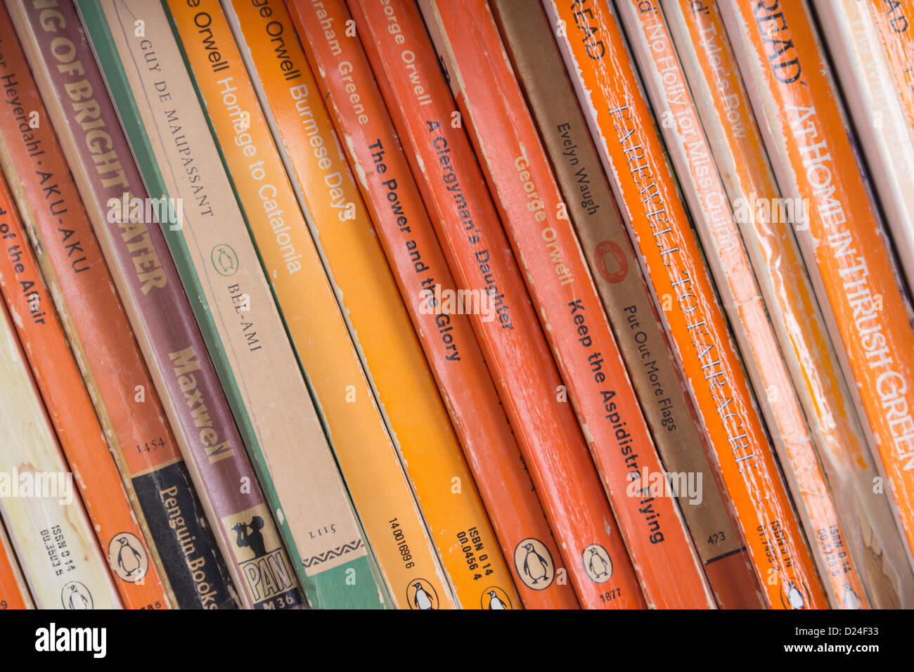 A shelf of paperback books published by Penguin, many by well-known authors: Evelyn Waugh, George Orwell, Graham - Stock Image