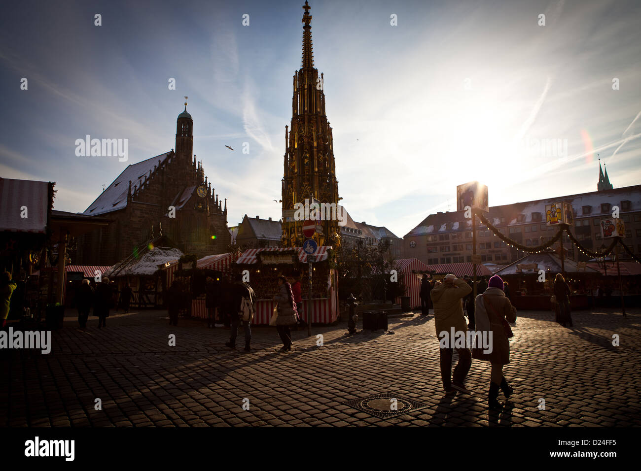 Hauptmarkt Square in the old quarter of Nuremberg during the Christmas Market Stock Photo
