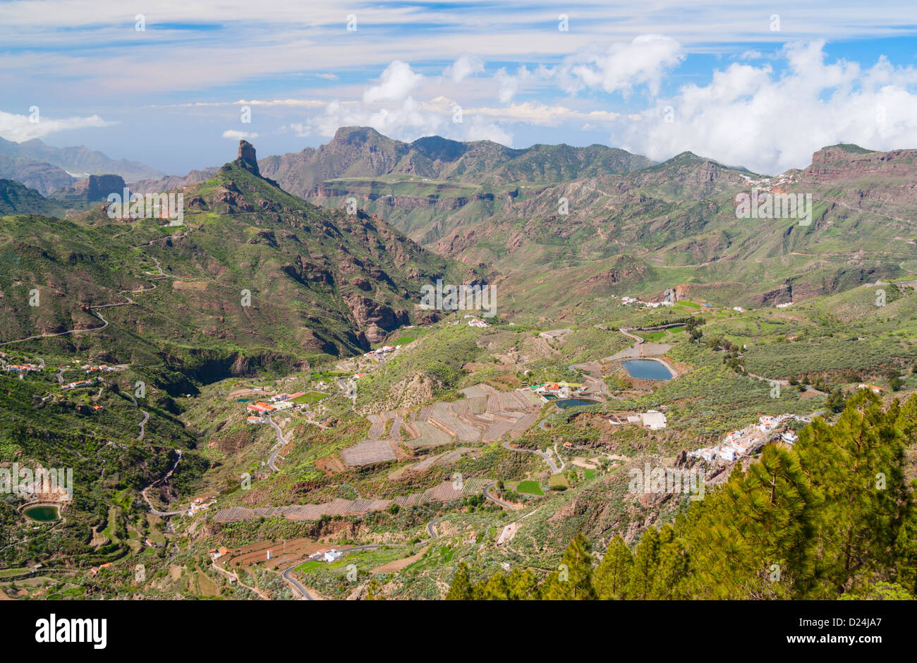 View towards Roque Bentayga near Tejeda village from ridge footpath near Cruz de Tejeda (1500m) on Gran Canaria. Stock Photo