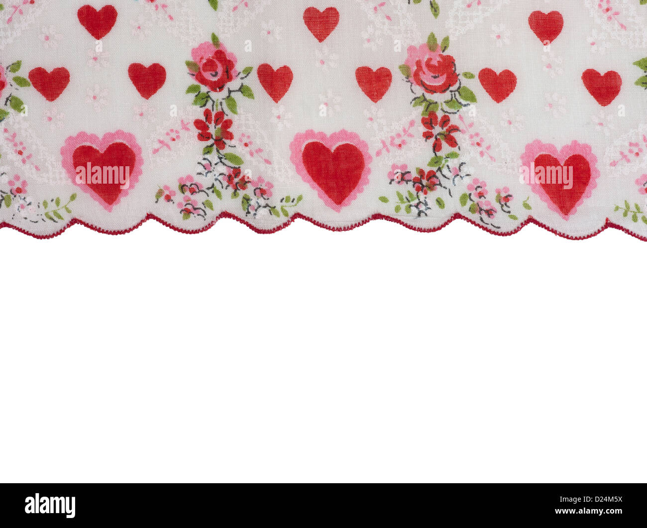Scallop Edge With Red Valentine Hearts For A Border Made Of A Stock