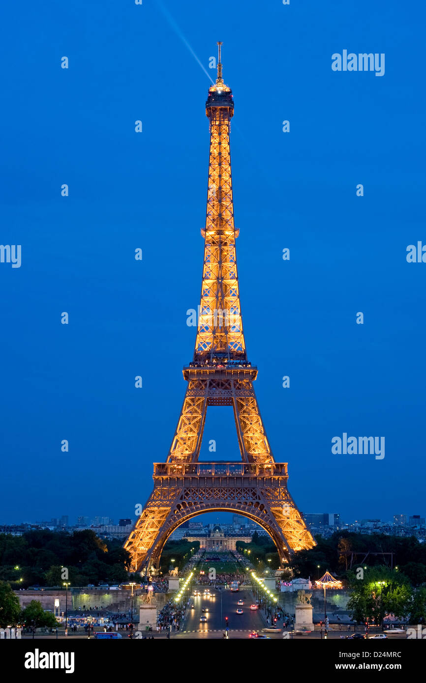 Paris, France, the illuminated Eiffel Tower at the blue hour - Stock Image