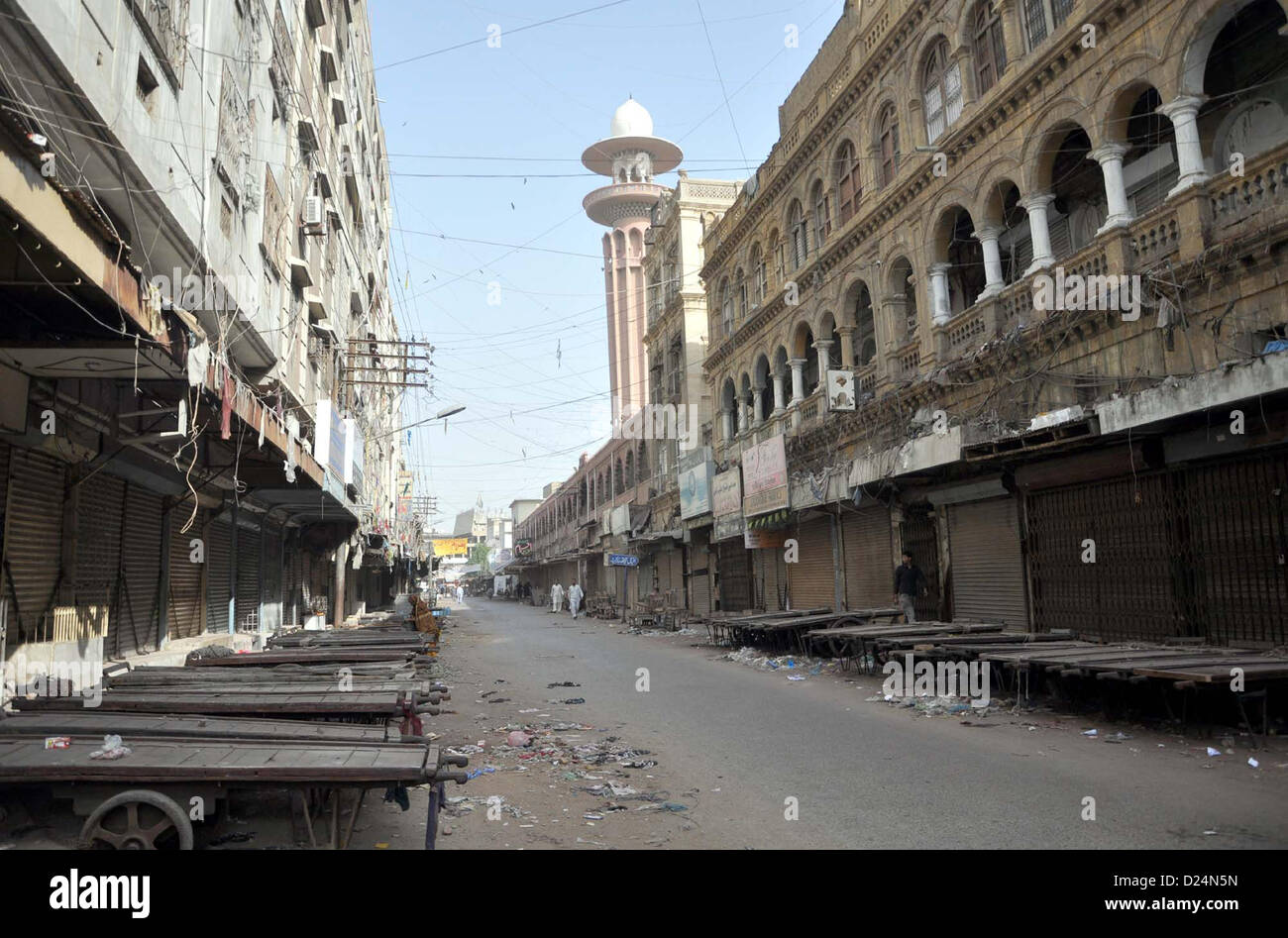 Shops seen closed during strike called by Shia Ulema  Council against killing of Shiite Muslims and genocide of Stock Photo