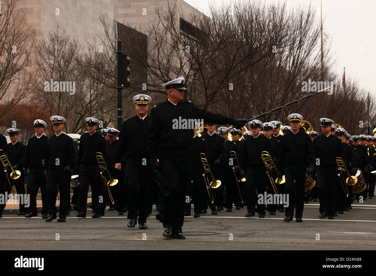 Members of the U.S. Navy Band rehearse movement through the merge area leading to the start point during the dress Stock Photo