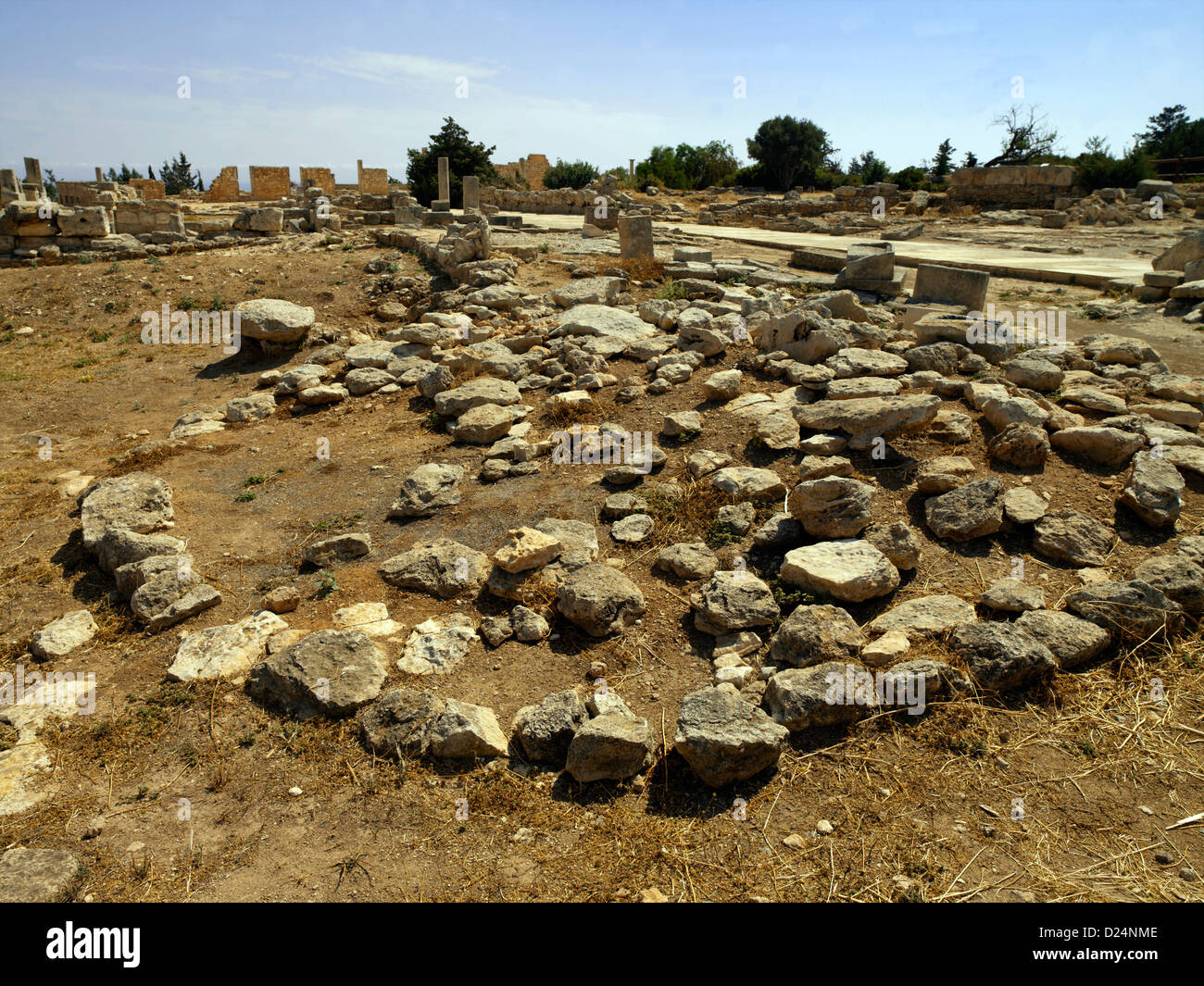 Paphos Cyprus The Archaic Circular Altar - Stock Image