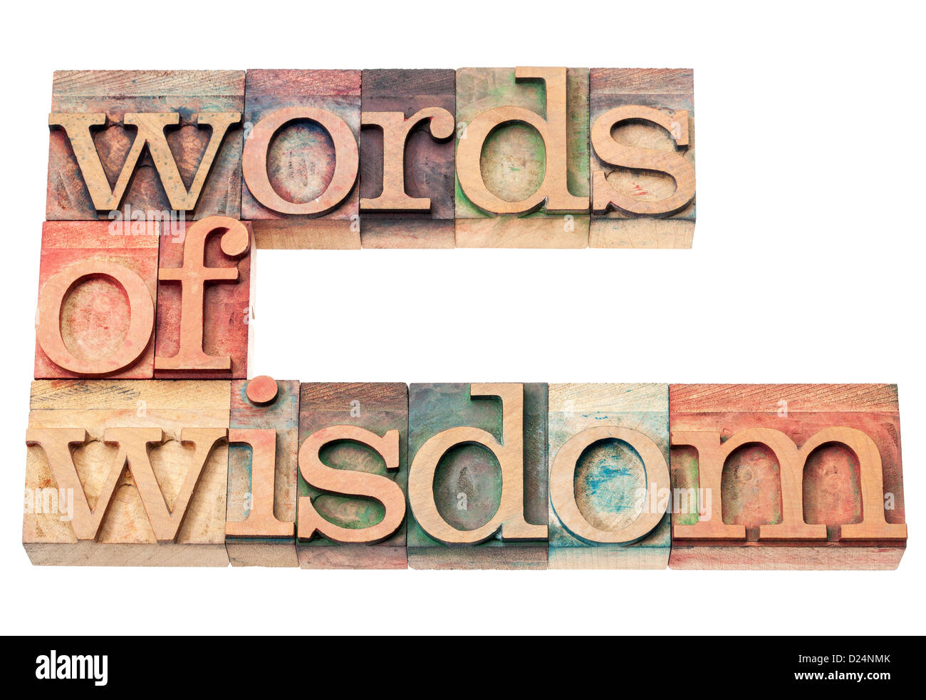 words of wisdom - isolated text in vintage letterpress wood type printing blocks - Stock Image