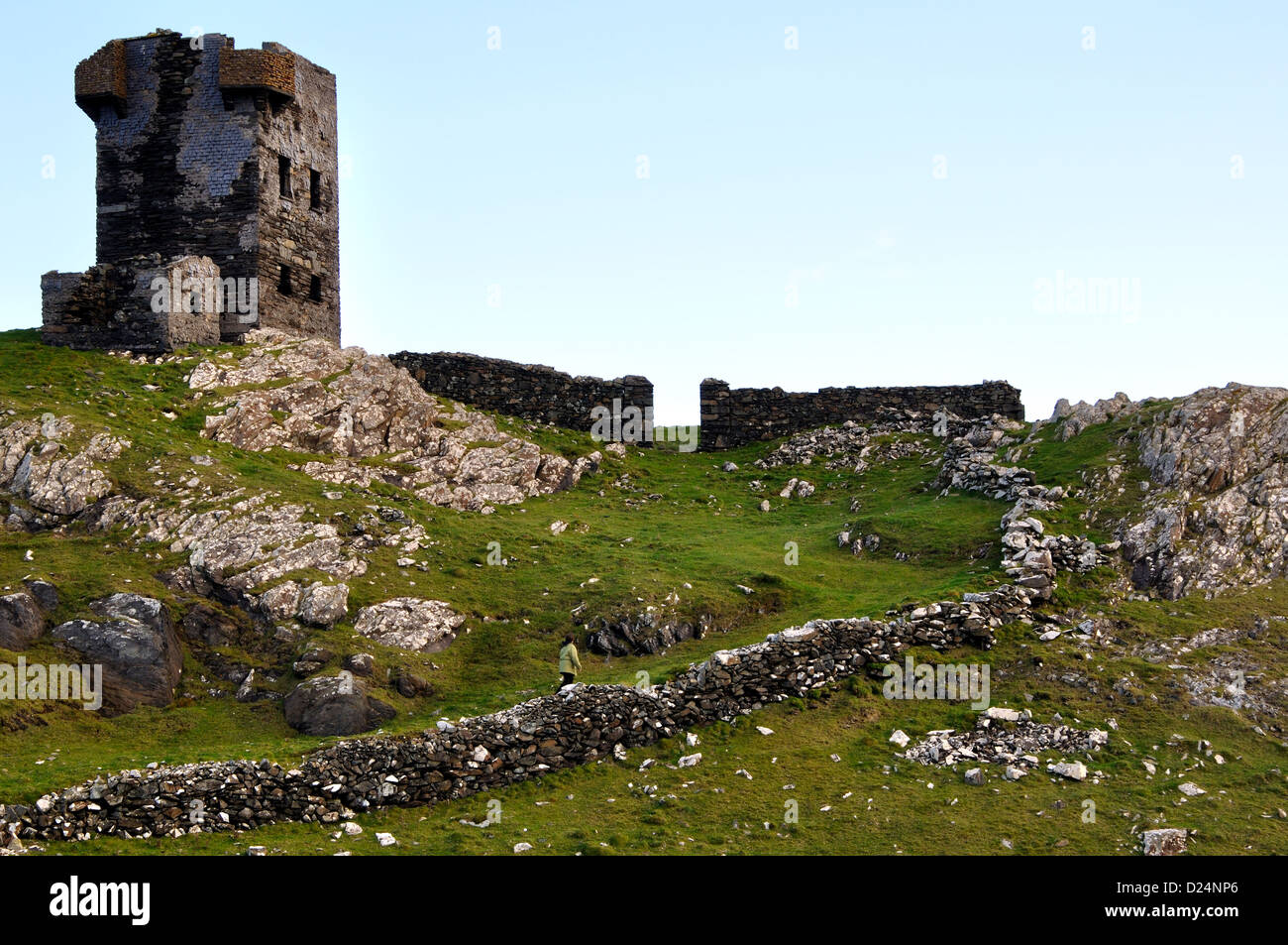 Ruins of Martello signal tower,Black Ball Head,Beara Peninsula,West Cork,Ireland - Stock Image