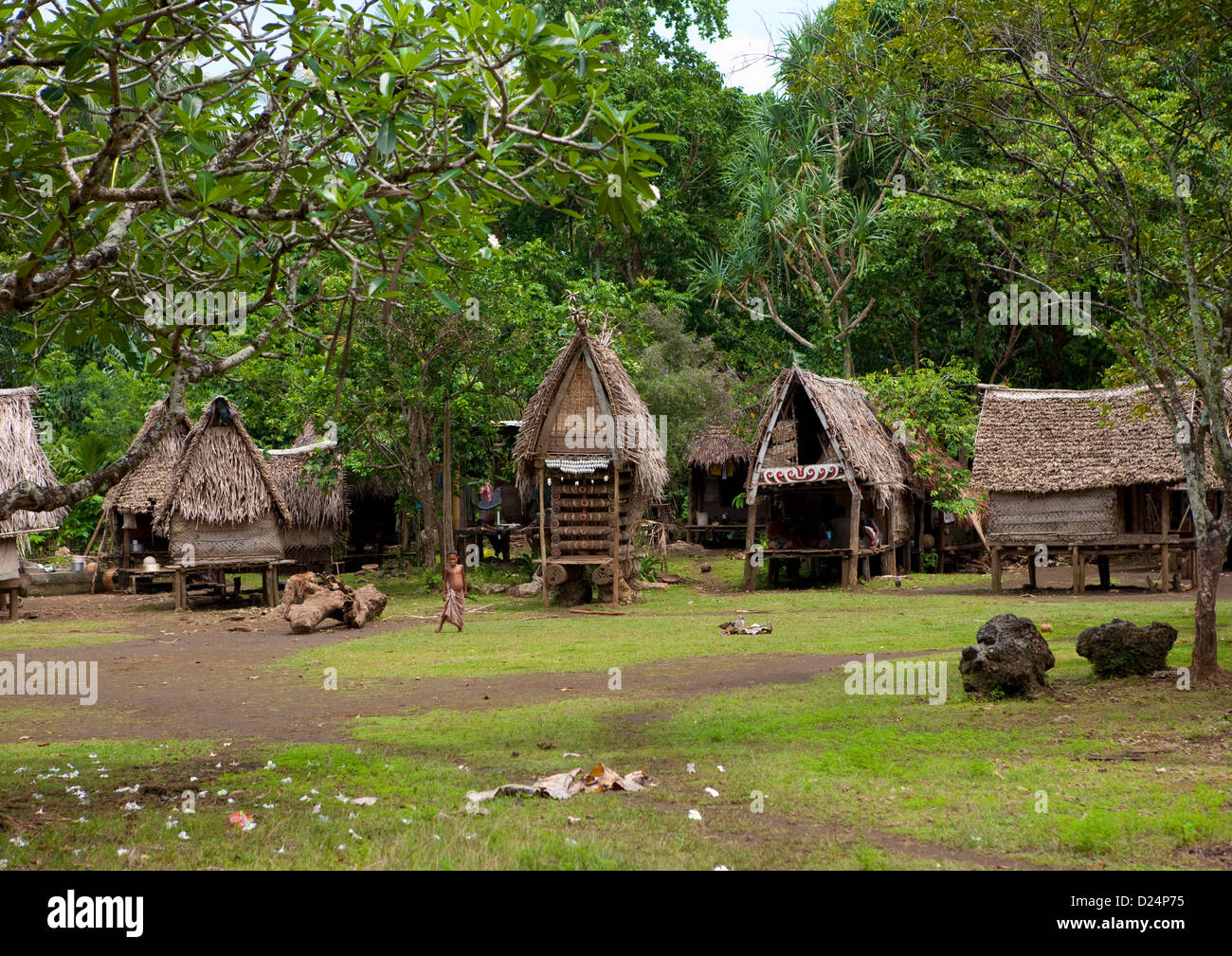 Traditional Village, Trobriand Island, Papua New Guinea - Stock Image