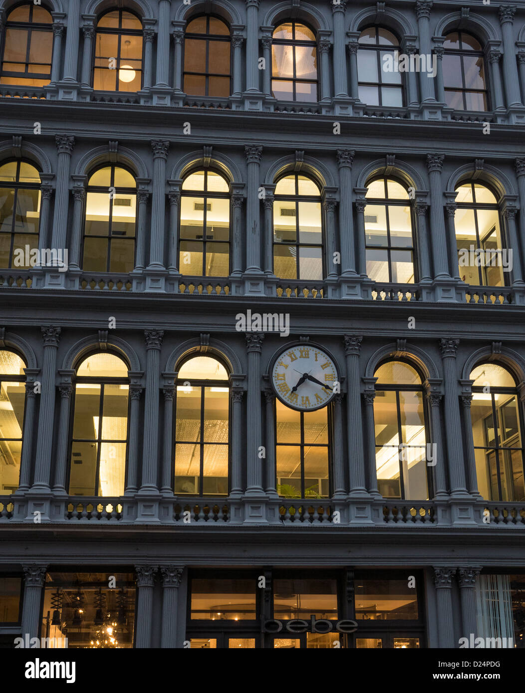 Bebe in the landmark E.V. Haughwout Building on Broadway in SoHot in New York City - Stock Image