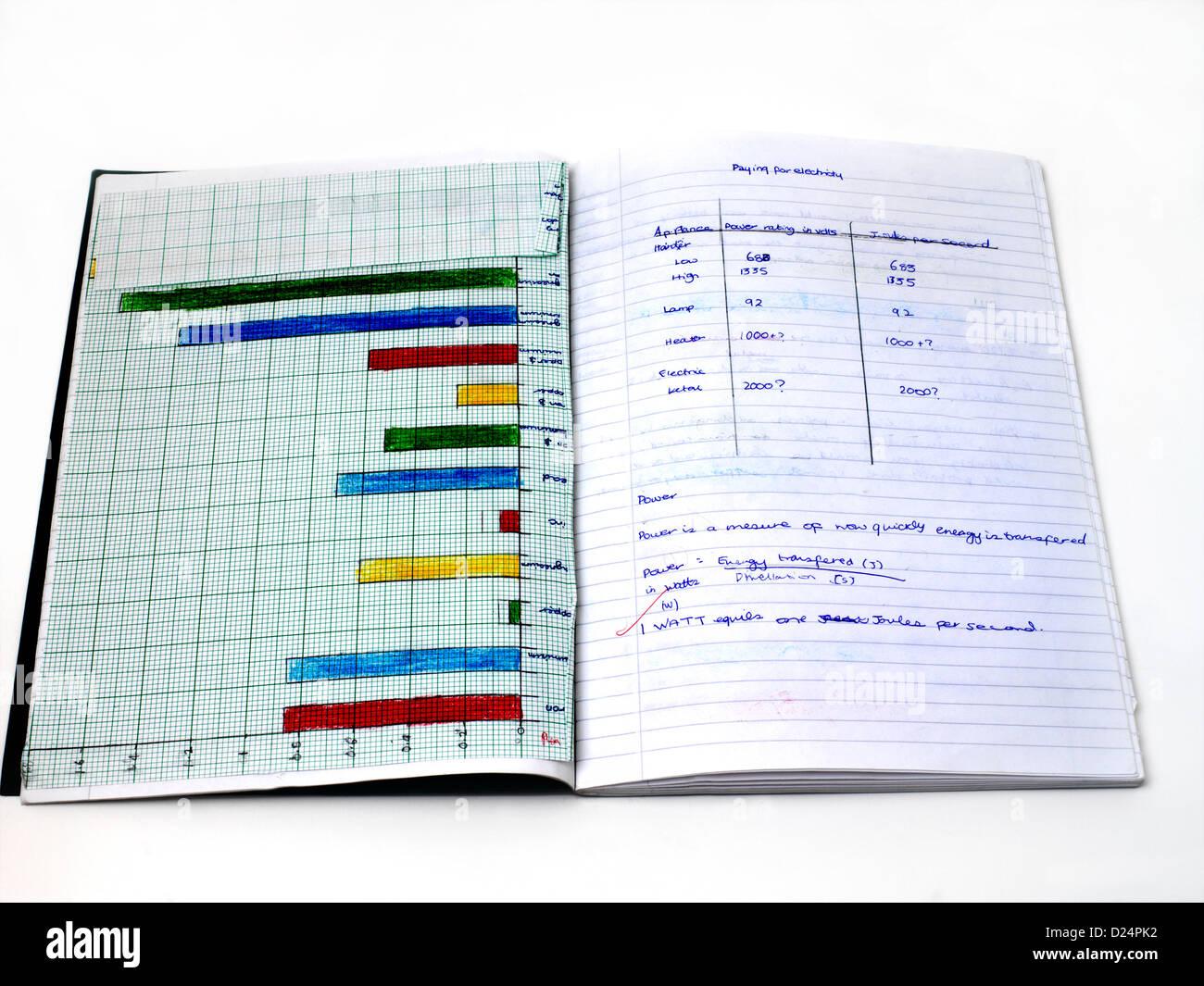 Physics Exercise Book - Stock Image