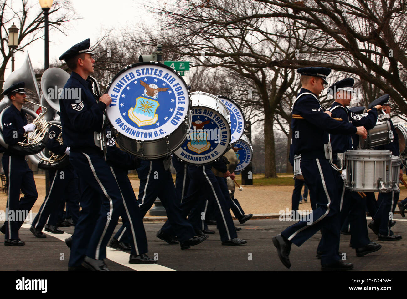 Members of the U.S. Air Force Band rehearse their movement during the dress rehearsal of the presidential inaugural Stock Photo