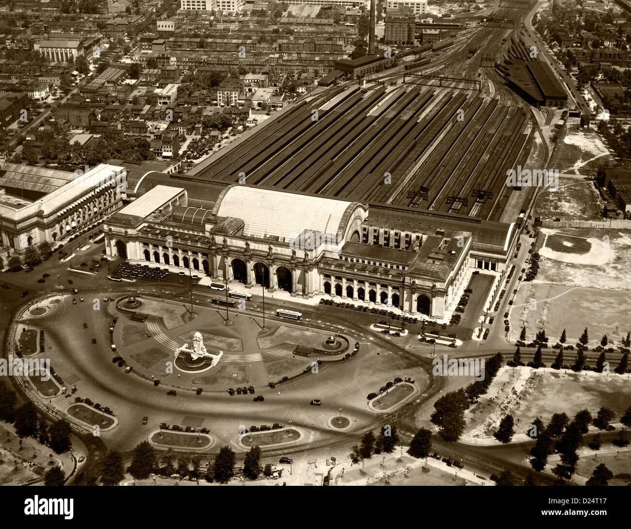 historical aerial photograph Union Station, Washington, DC, 1931 - Stock Image