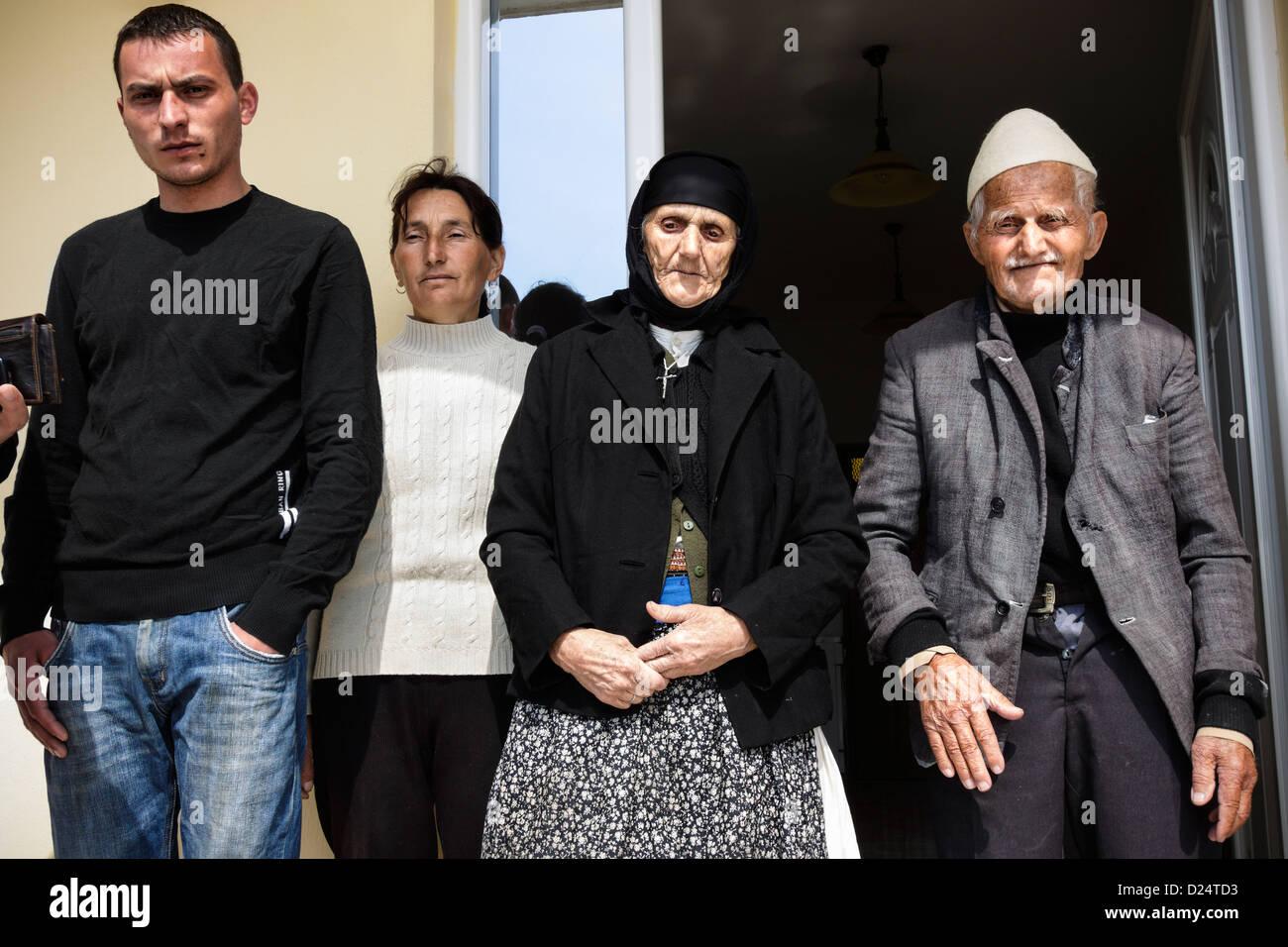 Albanian family living locked at home under the threat of a Kanun blood feud. Near Tirana, Albania - Stock Image