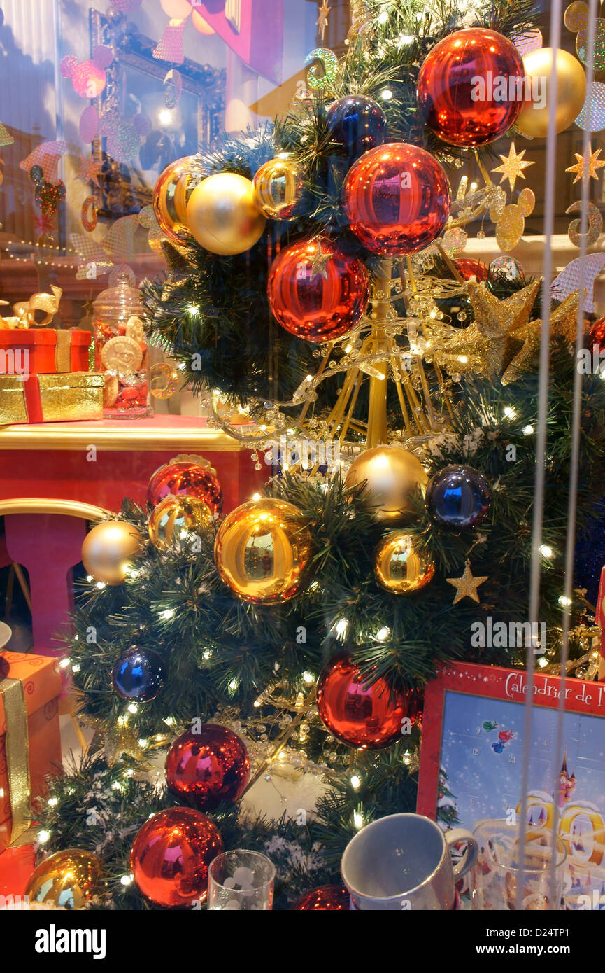 christmas decorations in a shop window at disneyland paris december 2012
