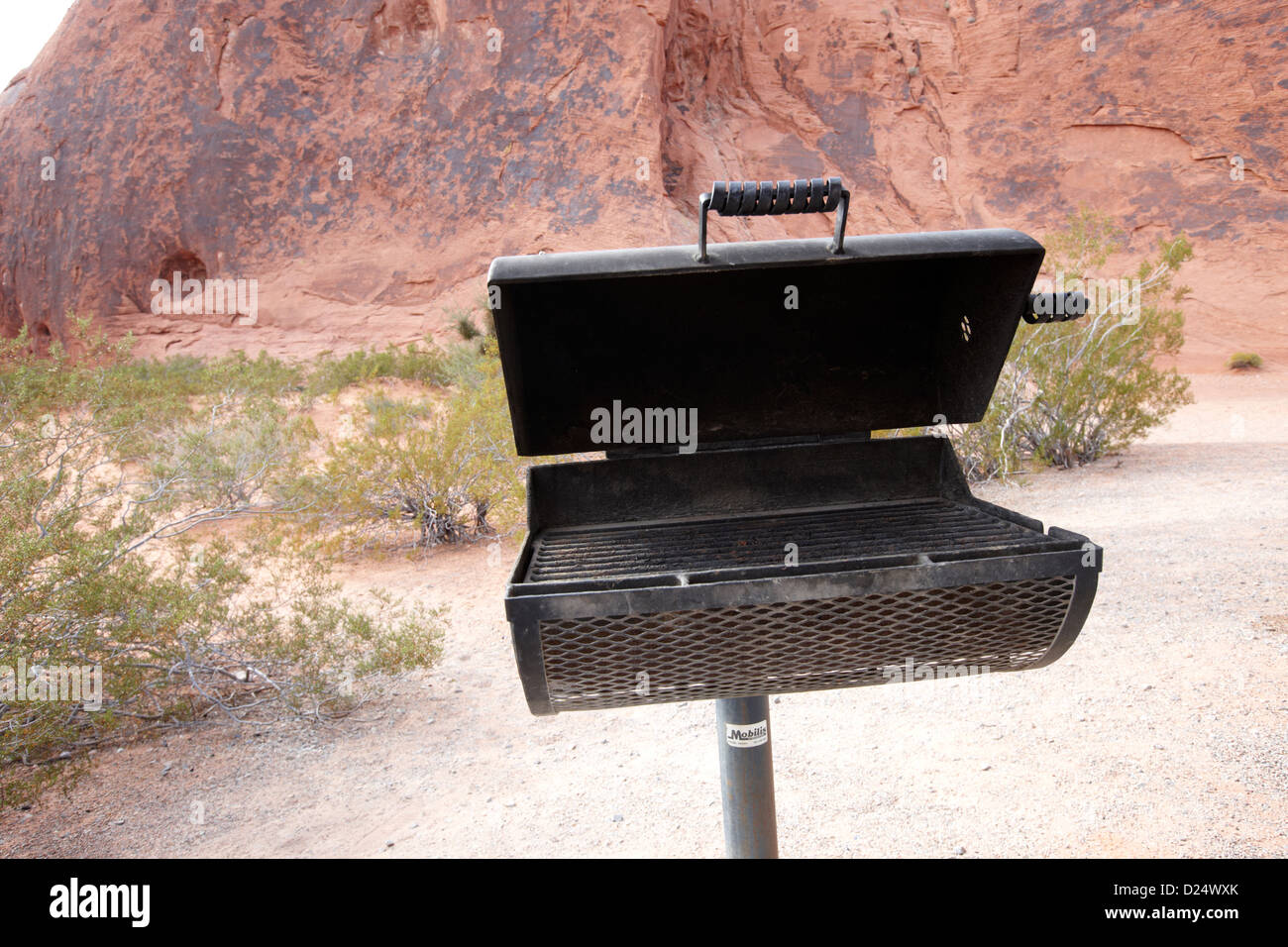 bbq stand at the campsite area valley of fire state park nevada usa - Stock Image