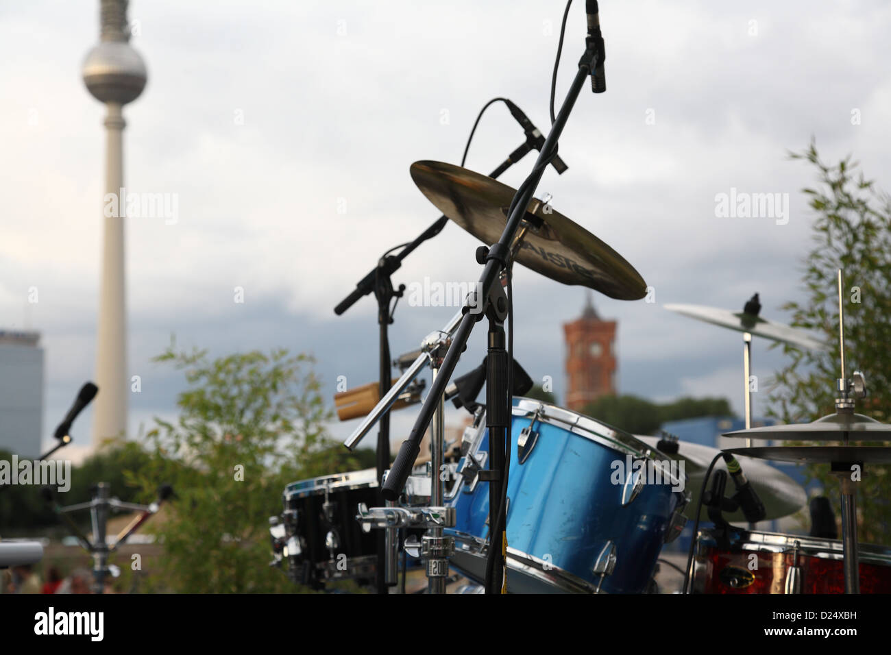 Berlin, Germany, a drum set in the palace square on the day of the Fete de la Musique - Stock Image