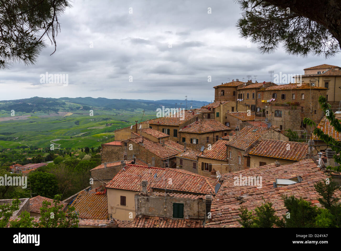Volterra and view over Val d'Orcia, Tuscany, Italy - Stock Image